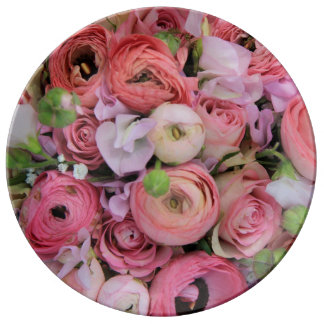 Therosegarden著ピンクのバラ及びシャクヤク 磁器プレート