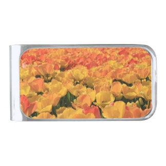Thespringgarden著オレンジ黄色のチューリップ 銀色 マネークリップ