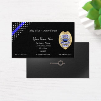 Thin Blue Line Police Badge and Handcuff Key 名刺