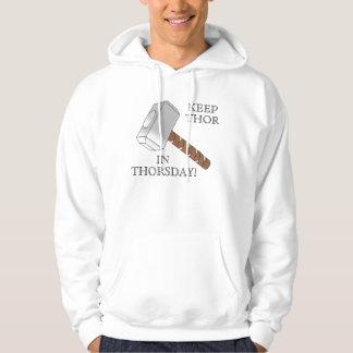 Thorsdayのトールを保って下さい! フード付きスウェットシャツ パーカ