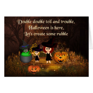 Three Shakespeare witches Halloween card カード