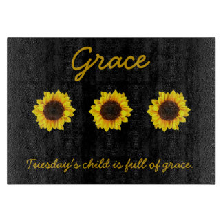 Three Sunny Sunflowers for Grace カッティングボード