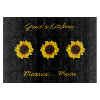 Three Sunny Sunflowers for Grace's Kitchen カッティングボード