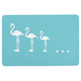 Three White Flamingo Birds and Dots Floor Mat フロアマット
