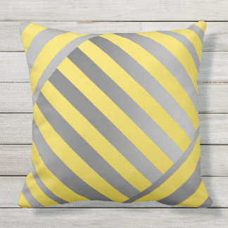 Throw Pillow-Design in yellow & gray stripes アウトドアクッション