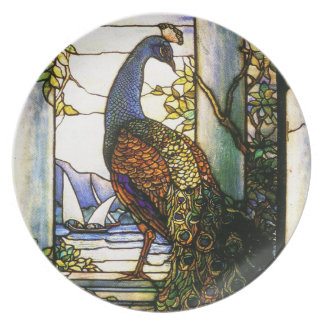 Tiffanyのステンドグラスの孔雀のプレート プレート