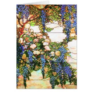 Tiffanyのステンドグラスの藤の花の芸術カード カード