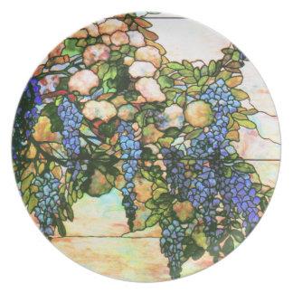 Tiffanyのステンドグラスの藤の芸術のプレート プレート