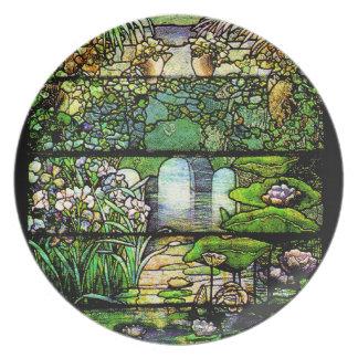 Tiffanyのステンドグラス水庭のプレート プレート