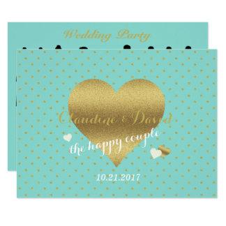 Tiffanyのティール(緑がかった色)の青および金ゴールドの結婚式プログラムプログラム・カード 16.5 X 22.2 インビテーションカード