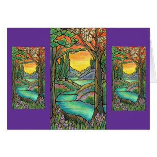 Tiffanyの景色のステンドグラスのデザインの芸術! カード