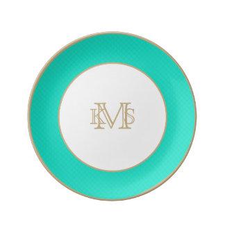 Tiffanyの水の青によってキルトにされるパターン 磁器プレート