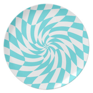 Tiffanyの青いチェッカーボードのプレートを組み合わせて下さい プレート