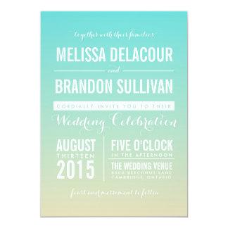 Tiffanyの青くグラデーションなビーチ結婚式の招待状 カード