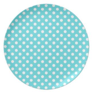 Tiffanyの青く白い水玉模様のプレートを組み合わせて下さい プレート