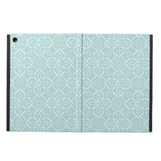 Tiffanyの青及び白いダマスク織パターン iPad Airケース
