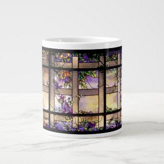 Tiffanyアールヌーボーのステンドグラスのジャンボマグ ジャンボコーヒーマグカップ
