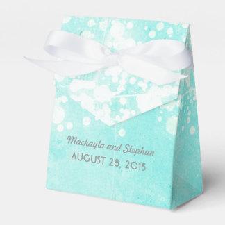 tiffany青い結婚式のひもは輝きをつけます フェイバーボックス