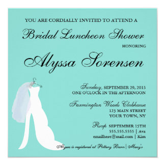 Tiffany Teal Blue Here Comes The Bride Invitation カード