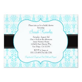 Tiffnyの青いブライダルシャワー招待状のダマスク織 カード