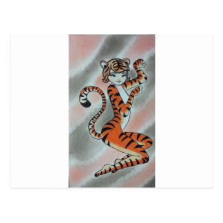 Tiger Original野生の1人の女性 ポストカード