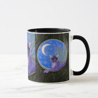 Tigerpixieの妖精のトラの紫色のファンタジー猫の芸術のマグ マグカップ
