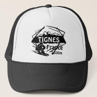 Tignesフランスの白黒のスキーロゴの芸術の帽子 キャップ