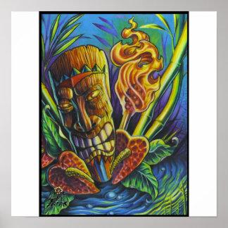 Tikiの神プリントの火 ポスター
