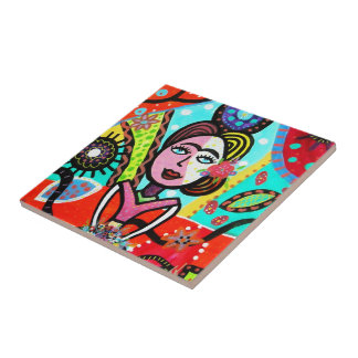 TILE抽象的な民芸の女性Mexican Artist タイル