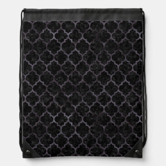 TILE1黒い大理石及び黒い水彩画 ナップサック