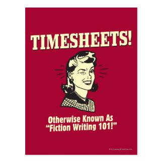 Timesheets: 101を書くフィクション ポストカード