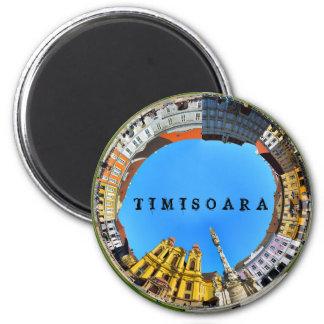 timisoara都市ルーマニア連合正方形のパノラマのpiata マグネット