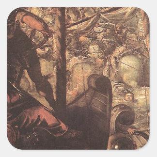 Tintoretto著トルコ人とクリスチャン間の戦い スクエアシール