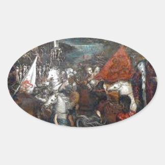 Tintoretto著Asolaの戦い 楕円形シール