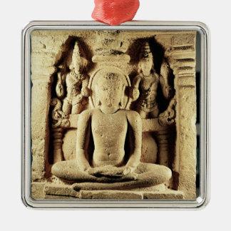 Tirthankara Mahaviraを描写するレリーフ、浮き彫り メタルオーナメント