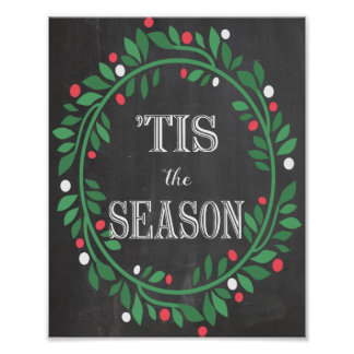 「Tis季節の黒板のプリント ポスター