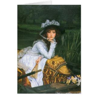 Tissot: ボートの若い女性 カード