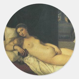 Titianのルネサンス芸術著ウルビノの金星 丸形シール・ステッカー