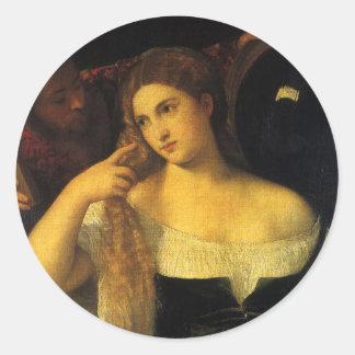 Titianのヴィンテージのルネサンス著鏡を持つ女性 丸形シール・ステッカー
