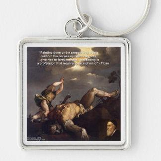 Titianの引用文及びデイヴィッドまたはゴリアテの絵画のギフト キーホルダー