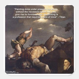 Titianの引用文及びデイヴィッドまたはゴリアテの絵画のギフト スクエアシール