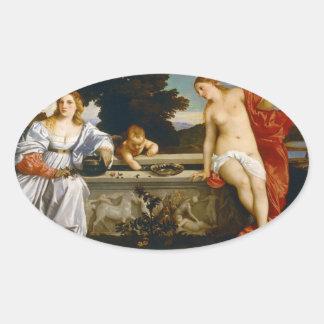 Titian著および不敬な愛神聖な愛 卵形シール・ステッカー