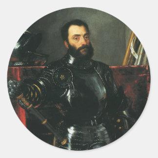 Titian著ウルビノの公爵のポートレート 丸形シール・ステッカー