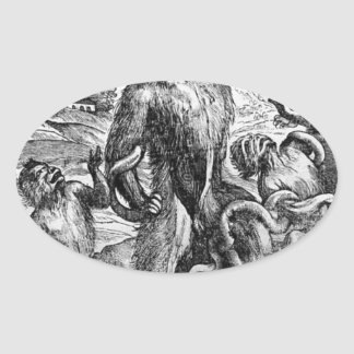 Titian著グループのLaocの風刺漫画 卵型シール