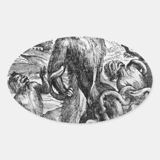 Titian著グループのLaocの風刺漫画 楕円形シール