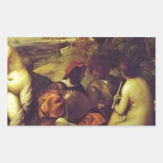Titian著コンサートChampetre 長方形シール