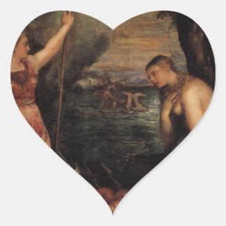 Titian著スペインの援助の宗教 ハート形シール・ステッカー