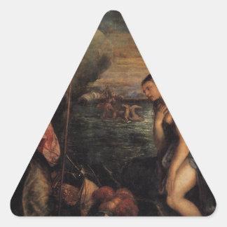 Titian著スペインの援助の宗教 三角形シール