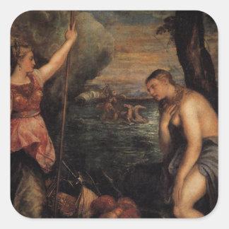 Titian著スペインの援助の宗教 正方形シール・ステッカー