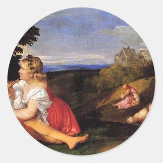 Titian著人の3つの年齢 丸形シールステッカー